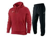 Зимний спортивный костюм, теплый костюм найк, черные штаны, красная кофта кенгуру, с3342