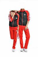 Зимний спортивный костюм, теплый костюм Adidas, черное туловище, красные рукава, красные штаны, с лампасами с214