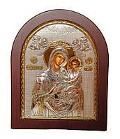 Скоропослушница Божья Матерь 15,6х19см в себере 925 пробы и позолоте ( Греция )