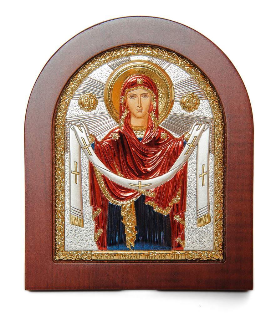 Божья Матерь Покрова 11х13см в себеряном окладе покрытом разноцветной эмалью