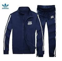Зимний спортивный костюм, теплый костюм Adidas, темно-синий костюм, с лампасами, с334