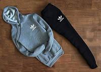 Зимний спортивный костюм, теплый костюм Adidas серый верх, черный низ, к4664