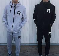 Зимний спортивный костюм, теплый костюм Reebok, серый верх, черный низ, с3431