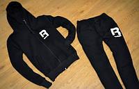 Зимний спортивный костюм, теплый костюм рибок, с манжетами, цвет черный, с3433