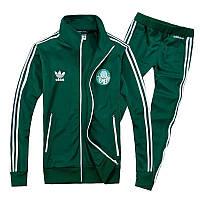 Зимний спортивный костюм, теплый костюм Adidas, зелёный костюм, с лампасами с179