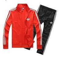 Зимний спортивный костюм, теплый костюм Adidas, красный верх, черный низ, с лампасами с189