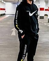 Зимний спортивный костюм, теплый костюм Nike, черный с капюшоном