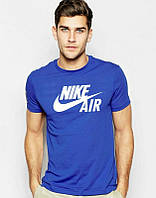 Мужская футболка Найк Синяя, футболка Nike Синяя, Турецкое качество; Код-0749249