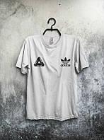 Мужская футболка Адидас Белая, футболка Adidas Белая, Турецкое качество; Код-0749379