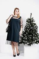 Зеленое платье под сеткой | 0989-3 GARRY-STAR