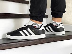 Чоловічі кросівки Adidas Gazelle,білі з чорним, фото 2