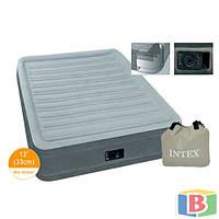 Надувная велюр кровать Intex Размер 99х191х33  встроенный электронасос. Односпальная