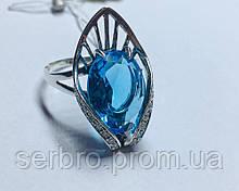 Серебряное кольцо с большим голубым цирконом Элизабет