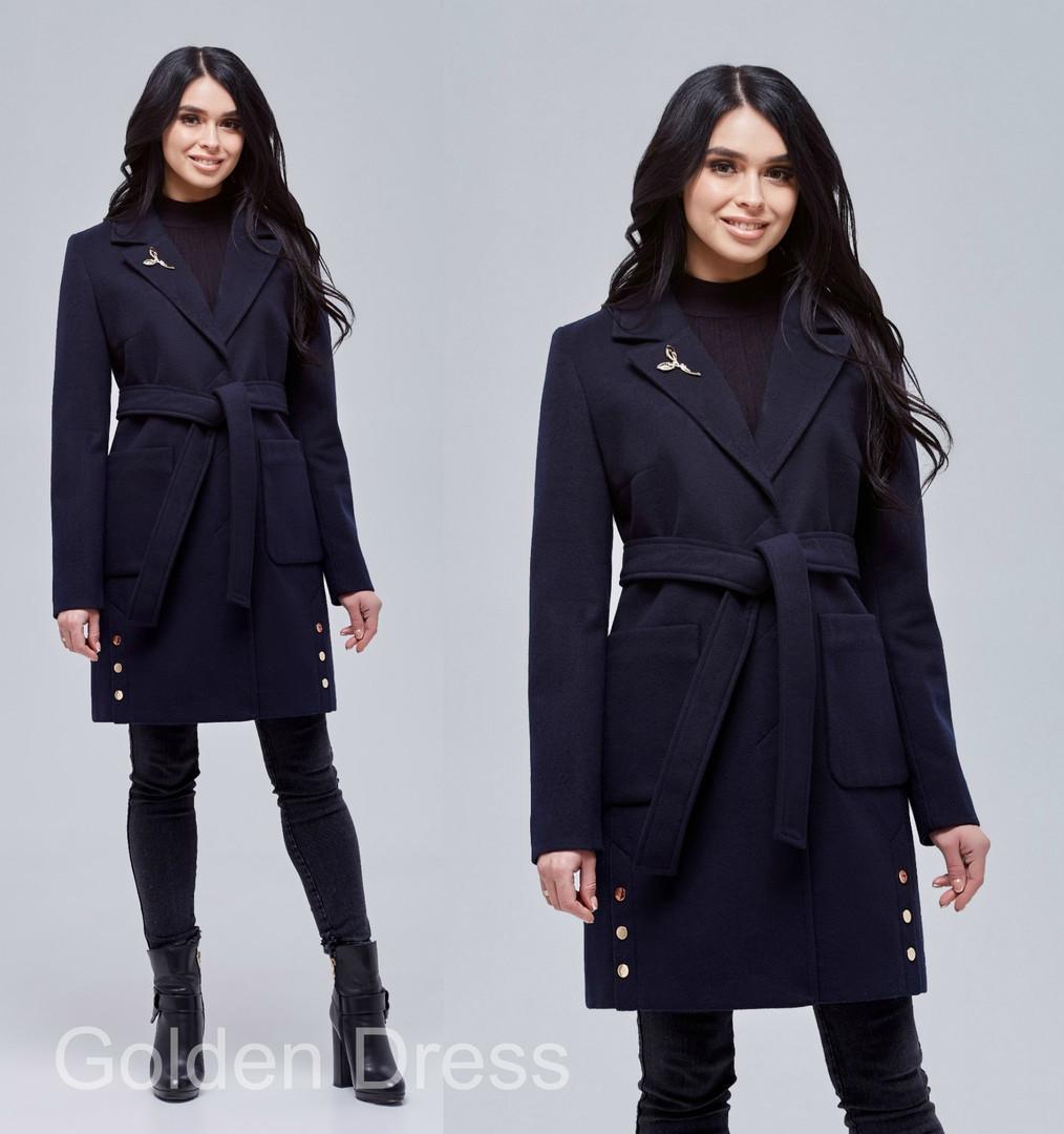 Кашемировое женское пальто под пояс с карманами большого размера