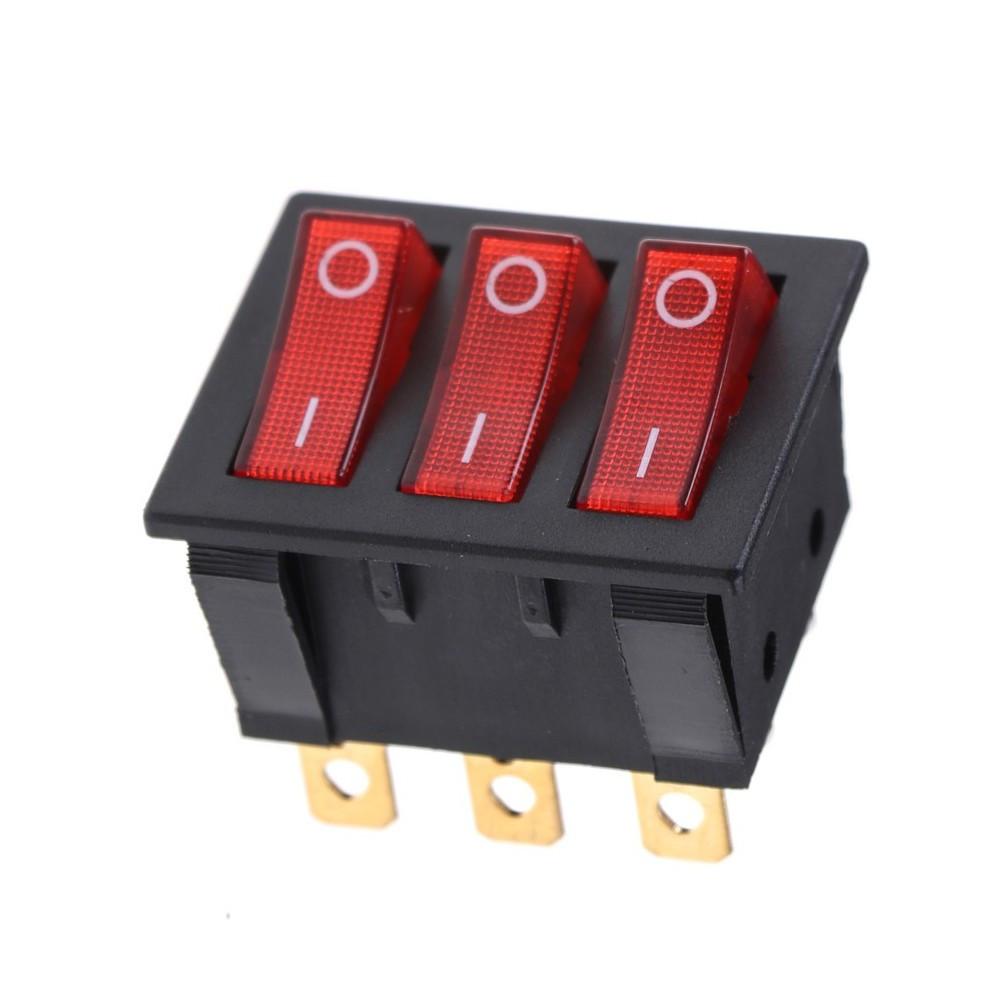 Тройной выключатель, кнопка KCD3 с подсветкой AC 250В 16А/30А 9-ть контактов - Красный