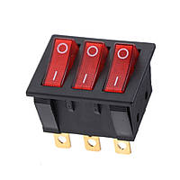 Тройной выключатель, кнопка KCD3 с подсветкой AC 250В 16А/30А 9-ть контактов - Красный, фото 1