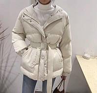 Женская объемная куртка в стиле Ленки с поясом бежевая, фото 1