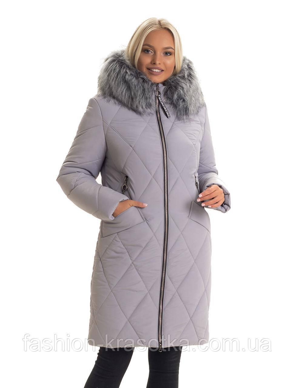 Зимняя женская удлиненная куртка,мех искусственный,размеры:44-56.