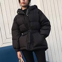 Женская объемная куртка в стиле Ленки с поясом черная, фото 1