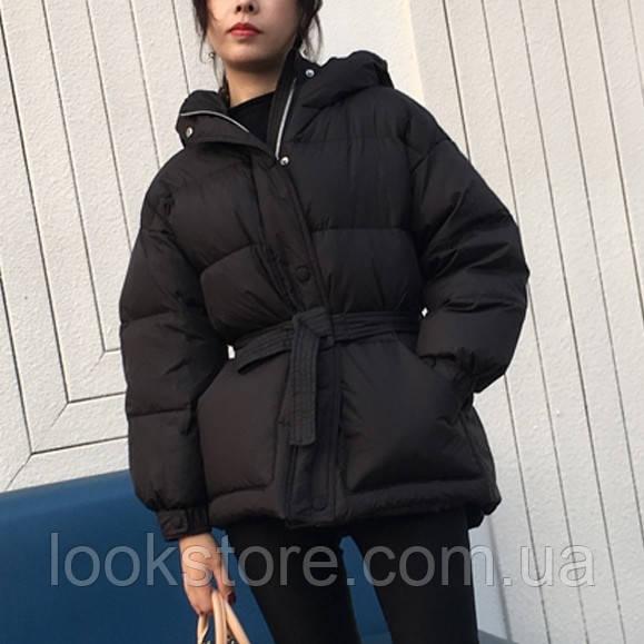 Женская объемная куртка в стиле Ленки с поясом черная