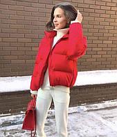 Модная короткая куртка красного цвета, размеры 42-48
