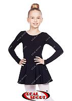 Танцевальный купальник с юбкой, черный GM030125 (хлопок, р-р 0-M, рост 98-146см), фото 1