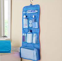 Дорожный органайзер для вещей для ванной подвесной голубой