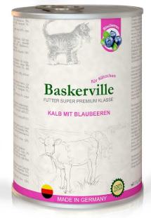 Влажный корм Baskerville Super Premium телятина/черника для котят всех пород кошек 400 гр.  х 6 шт