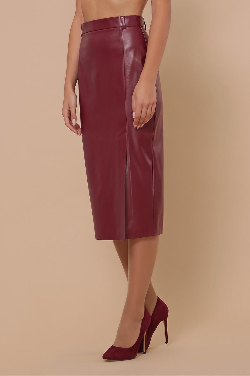 Женская юбка из эко кожи бордо мод.№40