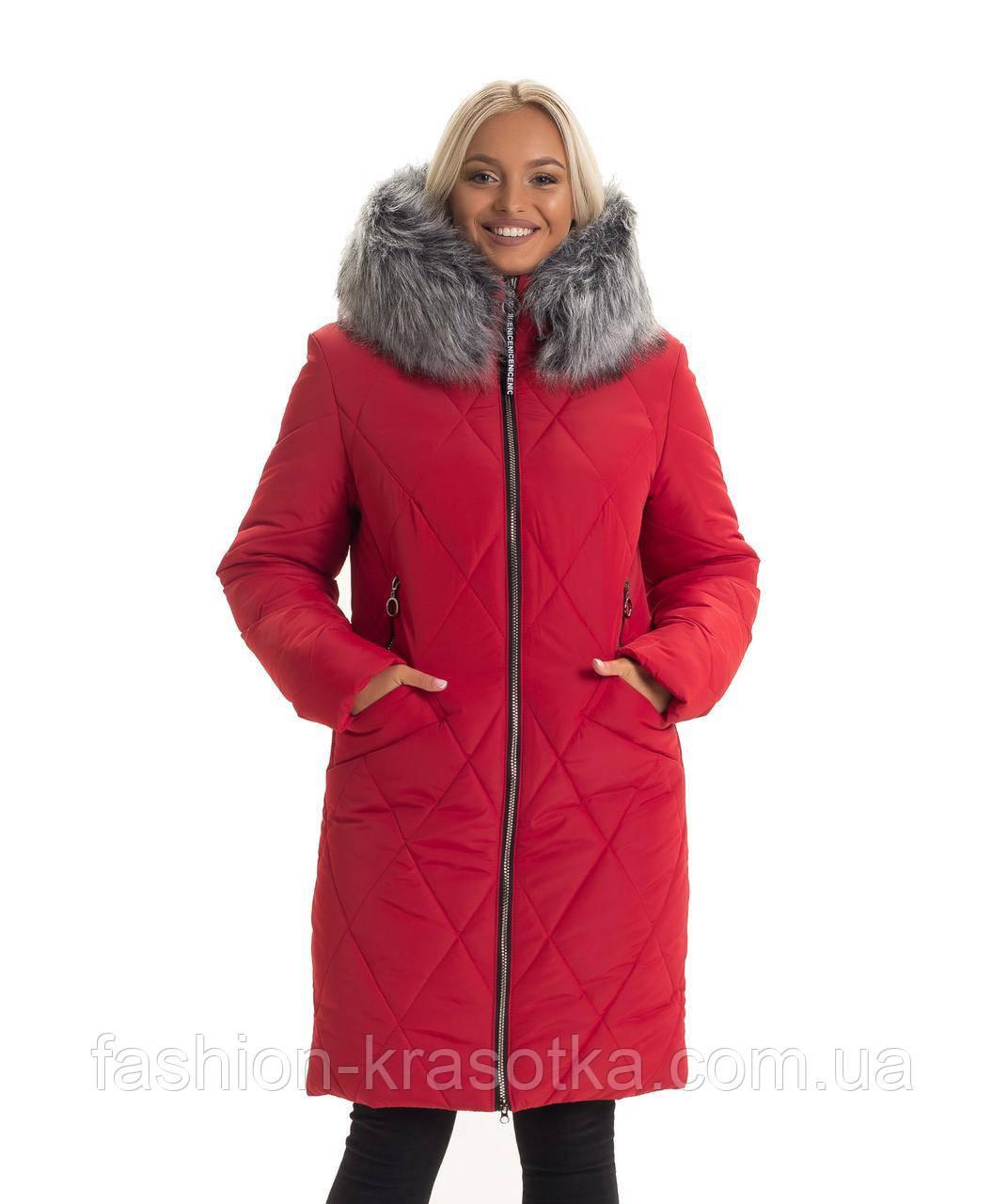 Модная женская куртка красного цвета,мех искусственный,размеры:44-56
