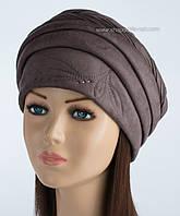 Красивая женская шапка Узор цвет шоколад