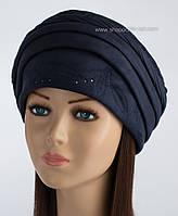 Зимняя женская шапка Узор синего цвета