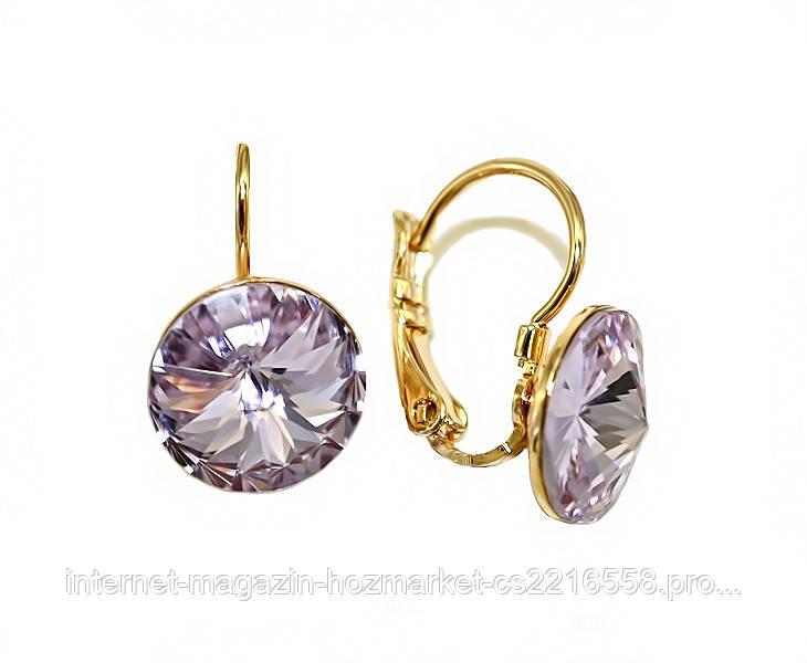 Серьги ХР, позолота.Камни: Swarovski (светло-фиолетового цвета). Диаметр серьги: 11 мм. Высота: 1,8 см.