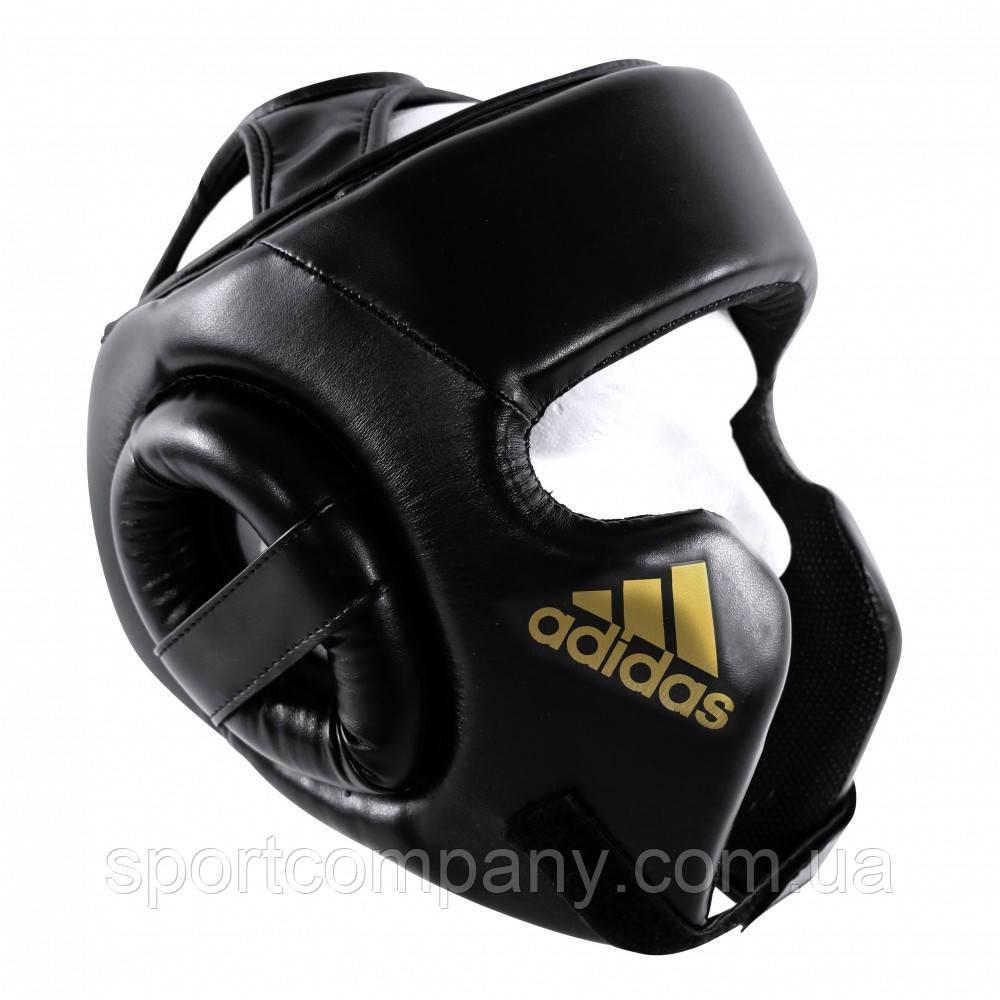 Шлем боксерский тренировочный Adidas Cheek Protection, черный с золотом