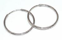 Серьги - кольца , цвет: серебряный, диаметр: 4,5 см, ширина: 2 мм.