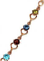 Браслет ХР, цвет:позолота с красным оттенком.Камни: циркон разных цветов. Длинна 18-21 см.Ширина 7 мм.