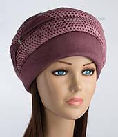 Зимняя женская шапка Дует с вязкой бордовая