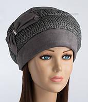Теплая женская шапка Дует с вязкой цвет серый