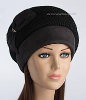 Черная женская шапка Дует с вязкой