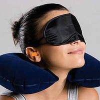 Дорожный набор для сна надувная подушка маска на глаза беруши в уши для путешествий