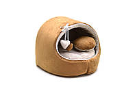 Будка для собак и котов Плюш коричневая №3 520х440х440