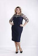 Синее стильное платье с вышивкой | 01037-1 GARRY-STAR
