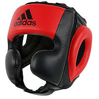 Шлем тренировочный кожаный Sparring HeadGuard Adidas, черно-красный, фото 1