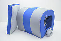 Будка туннель для собак и котов Комфорт лето синяя мини 200х250х200