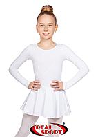 Гимнастический купальник с юбкой детский,белый GM030126(хлопок, р-р 1-M, рост 98-134см)