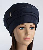 Теплая женская шапка из искусственной замши Флеш синяя