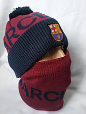 "Мужскойнабор ""Барселона"" состоит из шапки с помпоном и снуда, фото 3"