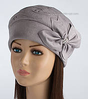Теплая шапка из искусственной замши Исса светло-серого цвета