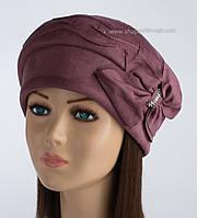 Красивая женская шапка Исса бордового цвета