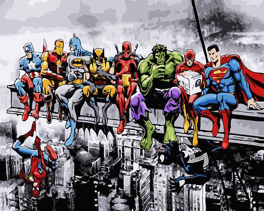 Картина по Номерам в коробке 40x50 см. Супергерои Marvel и DC Rainbow Art, фото 2